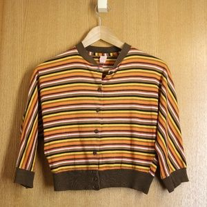 Vintage 70s Brown Striped Crop Cardigan Sz S